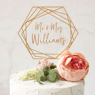 Gold Cake Topper, Hexagon
