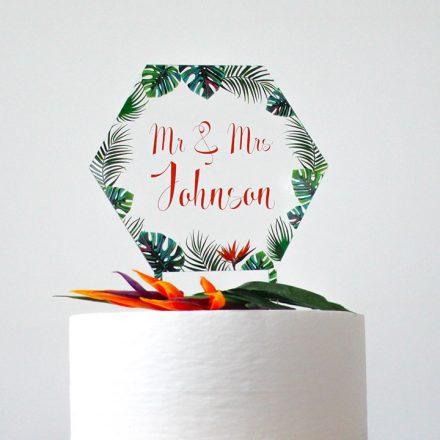 Tropical Wedding Cake Topper