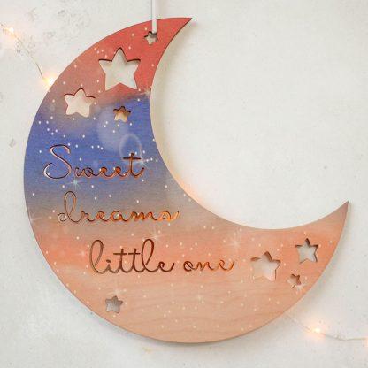 Moon And Stars Nursery Sign, Night Sky