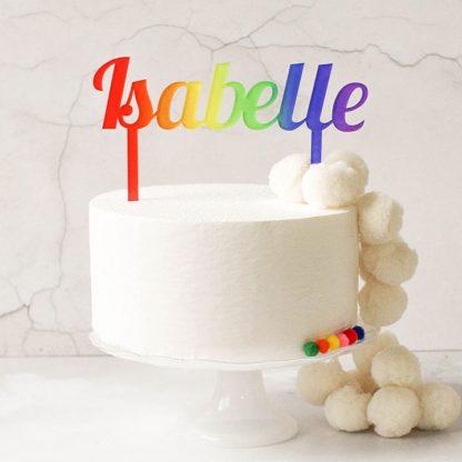 Personalised Cake Topper, Rainbow