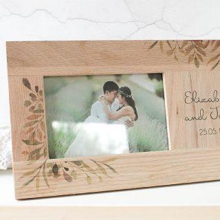 Personalised Oak Photo Frame, Botanical Wedding
