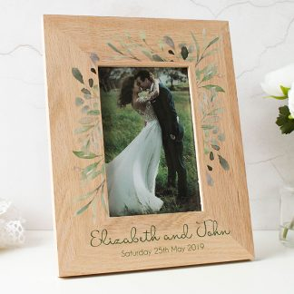 Oak Photo Frame, Personalised Botanical Wedding