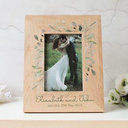 Oak Photo Frame, Personalised Botanical Wedding