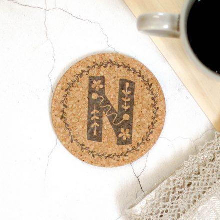 Personalised Cork Coaster, Initial