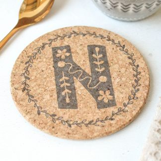 Personalised Cork Coaster, Initial