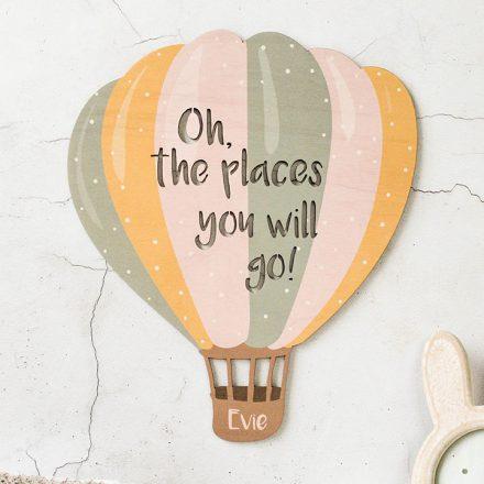 Personalised Balloon Nursery Sign, Hot Air Balloon