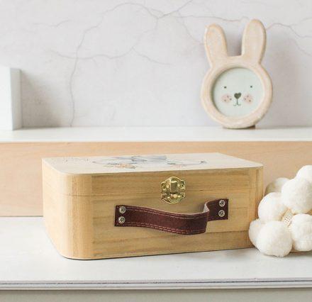 Personalised Wooden Suitcase, Baby Elephant