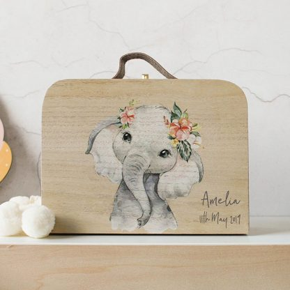 Personalised Wooden Suitcase, Baby Elephant