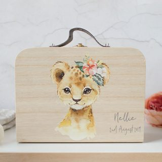 Personalised Wooden Suitcase, Baby Lion