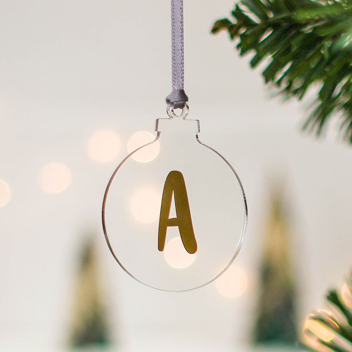 Clear Christmas Tree Bauble Initial Rocket And Fox
