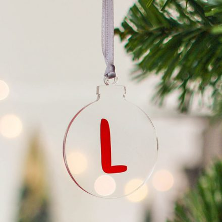 Clear Christmas Tree Bauble, Initial