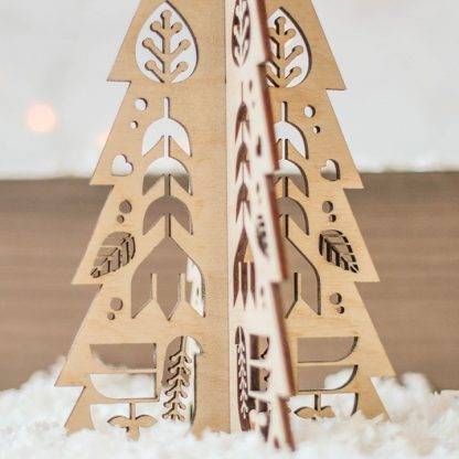 Christmas Tree Set Folk Cutout Design