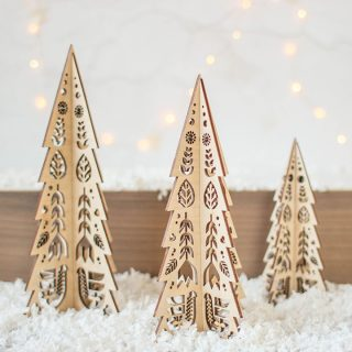 Christmas Tree Set Folk Cutout Design
