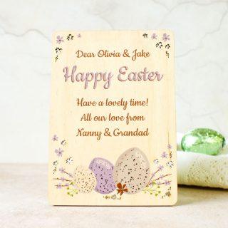 Personalised Easter Card, Wooden Keepsake