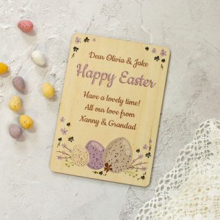 Personalised Easter Card, Wooden Keepsake