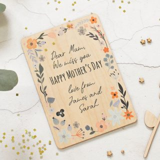 Personalised Mothers Day Card, Wooden Keepsake RFPCD007UV
