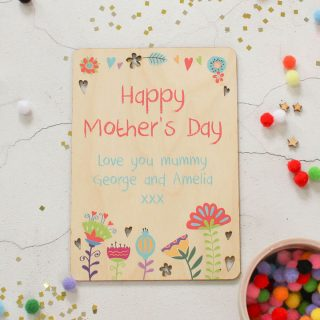 Personalised Happy Mothers Day Wooden Keepsake Card RFPCD008UV