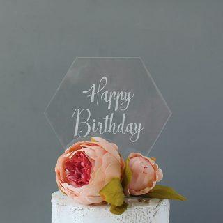 Happy Birthday Cake Topper, Clear Acrylic RFCK003