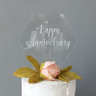Happy Anniversary Cake Topper, Clear Acrylic RFCK004