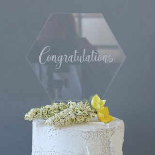 Congratulations Cake Topper, Clear Acrylic RFCK005