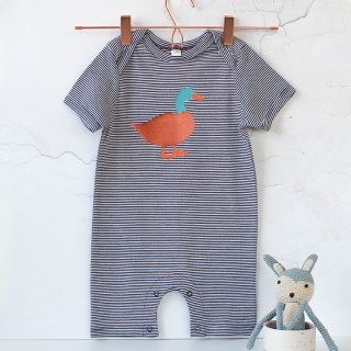 Baby Short Sleeve Striped Bodysuit, Duck RFFS004