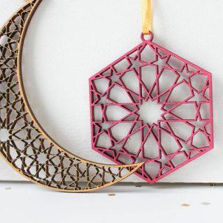 Eid Decorations In Wood, Set Of Six EIRFHA001UV