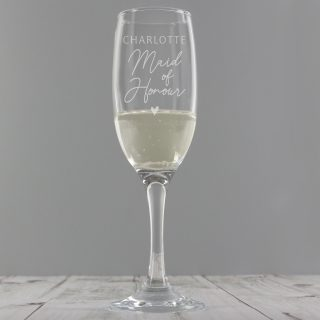 Personalised Maid Of Honour Champagne Flute Glass PMCP0107G39