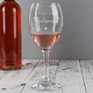 Personalised Bridesmaid Wine Glass PMCP0107G43