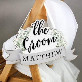 Personalised The Groom Wooden Hanging Decoration PMCP071194