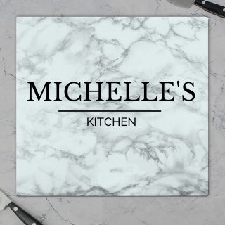 Personalised Marble Effect Glass Chopping Board PMCP080781