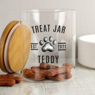 Personalised Pet Treats Jar With Bamboo Lid PMCP1007D73