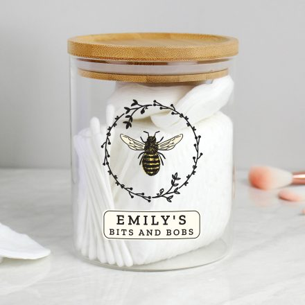 Personalised Glass Jar With Bamboo Lid, Bee Design PMCP1007D77