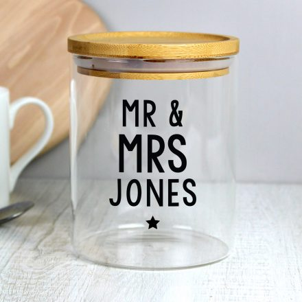 Personalised Glass Jar With Bamboo Lid PMCP1007D79