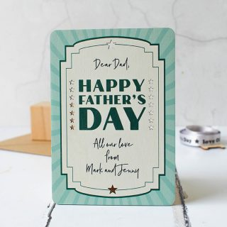 Personalised Happy Fathers Day Wooden Keepsake Card RFPCD009UV