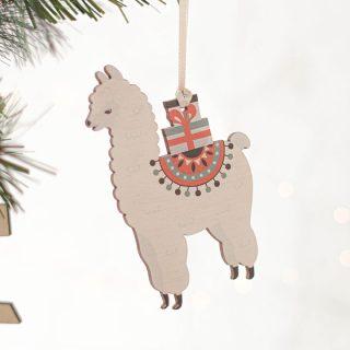 Llama Christmas Decorations, Set Of Four JLXMRF003UV