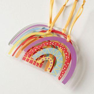 Rainbow Christmas Decorations, Set Of Four JLXMRFHA001UV
