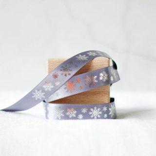 Christmas Gift Wrap Ribbon, Snowflakes, 15mm JLXMRFRI001