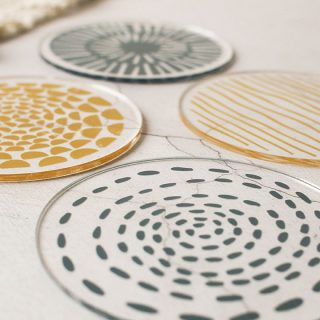 Coasters Set Of Four, Mustard And Grey RFCO003UV