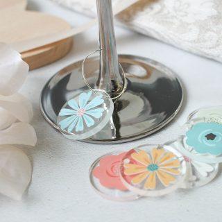 Flower Glass Charms, Set Of Six RFTB032UV