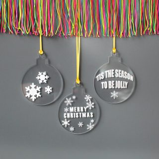 Christmas Tree Decorations, Set Of Three Engraved XMRFHA010