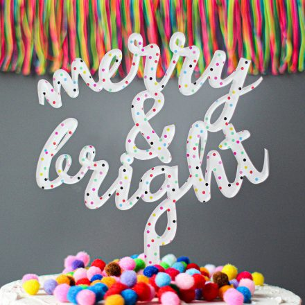 Merry And Bright Cake Topper, Christmas XMRFTB009UV