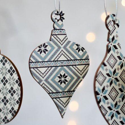 Christmas Tree Decoration, Nordic Fair Isle Set XMRFHA001UV