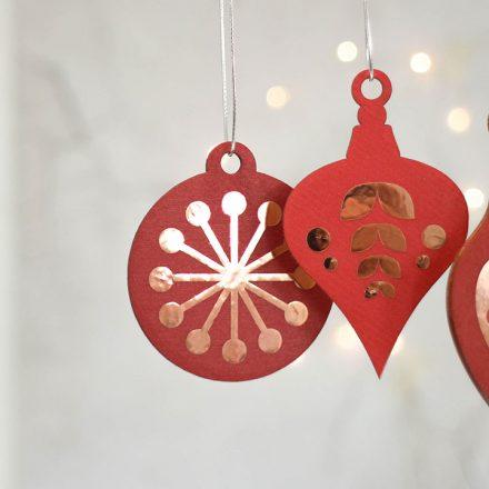 Christmas Tree Decoration Set, Red With Copper XMRFHA002UV