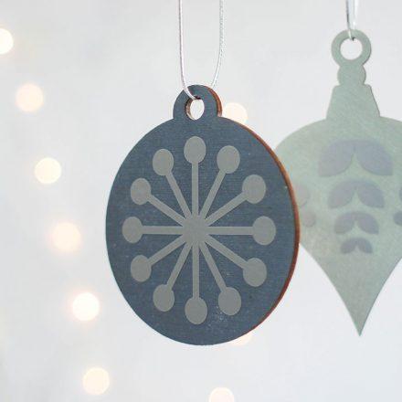 Christmas Tree Decoration Set, Blue With Silver XMRFHA003UV