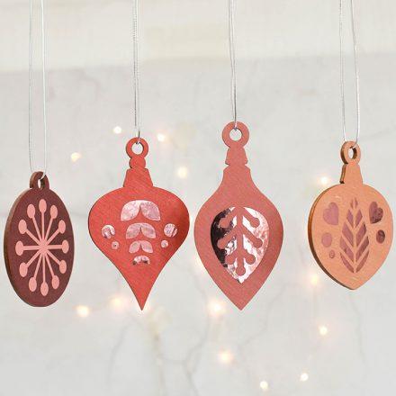 Christmas Tree Decoration Set, Pink With Rose Gold XMRFHA005UV