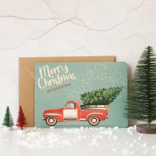 Personalised Christmas Card, Wooden Retro Car XMRFPCD001UV