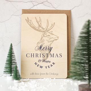 Personalised Christmas Card, Wooden Christmas Card XMRFPCD002UV