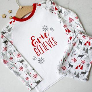 Personalised Christmas Pyjamas, Believe XMRFPJ002