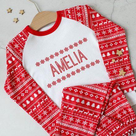 Personalised Christmas Pyjamas, Snowflakes XMRFPJ001